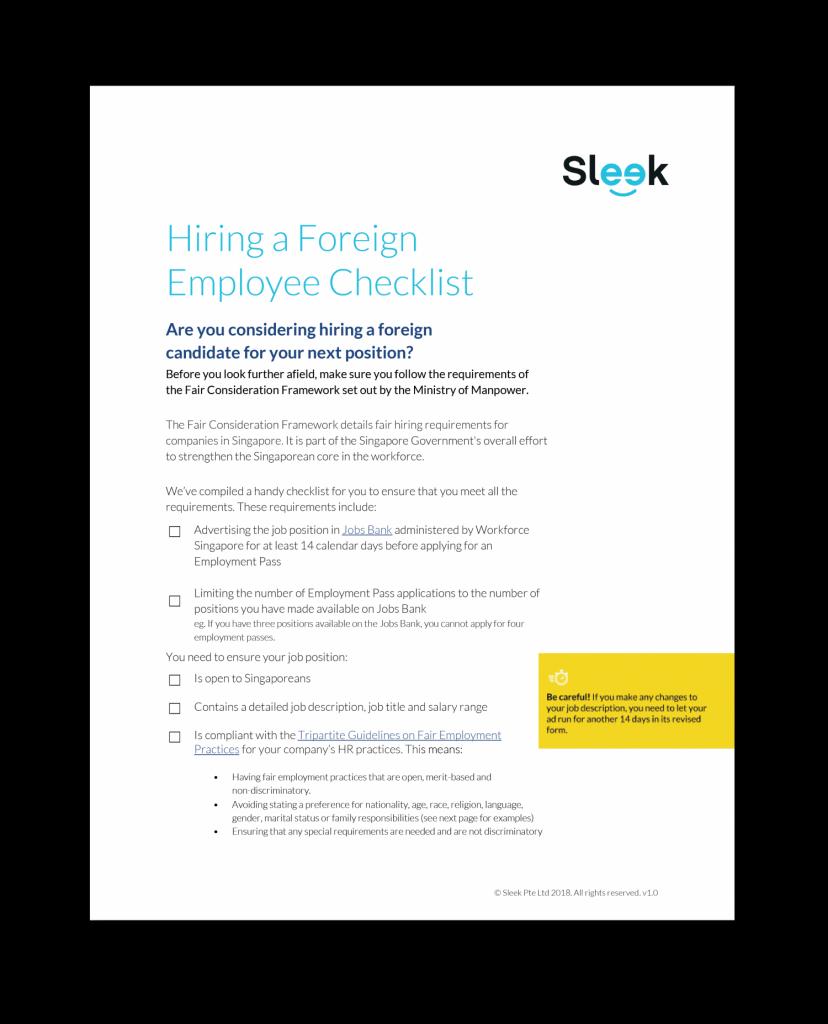 hiring a foreigner in singapore Sleek.sg